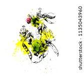 vector hand drawn green pea... | Shutterstock .eps vector #1135043960