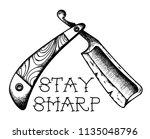 vintage straight edge razor... | Shutterstock .eps vector #1135048796