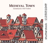 medieval ancient city.... | Shutterstock .eps vector #1135051049