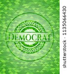 democrat green emblem. mosaic... | Shutterstock .eps vector #1135066430