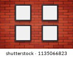 red brick wall with four modern ... | Shutterstock .eps vector #1135066823