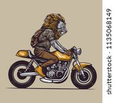 motorcycle rider with lion head ...   Shutterstock .eps vector #1135068149