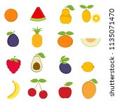 set of colorful cartoon fruit... | Shutterstock .eps vector #1135071470