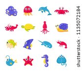 set of cute colorful marine and ... | Shutterstock .eps vector #1135072184