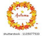 circle frame with watercolor...   Shutterstock . vector #1135077533