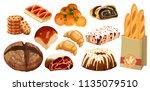 set vector bread icons. rye ... | Shutterstock .eps vector #1135079510