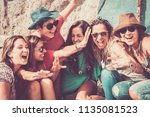 group of crazy nice beautiful... | Shutterstock . vector #1135081523
