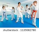 glad children training in pairs ... | Shutterstock . vector #1135082780