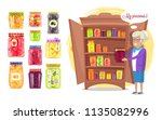 cheerful granny with preserved... | Shutterstock .eps vector #1135082996