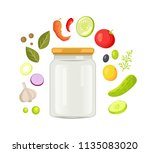 glass jar with screw cap for... | Shutterstock .eps vector #1135083020