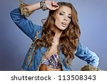 young gorgeous brunette model... | Shutterstock . vector #113508343