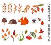 fall decorative elements.... | Shutterstock .eps vector #1135083650