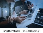 Futuristic in Industry 4.0 and business virtual diagram with Ai, robot assistant, Cloud, big data and automation. Business team meeting. Photo professional investor working new start up project. - stock photo