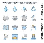 water treatment plant and... | Shutterstock .eps vector #1135087133