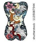 japanese tattoo design full... | Shutterstock .eps vector #1135087544