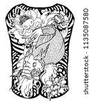 japanese tattoo design full... | Shutterstock .eps vector #1135087580
