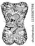 japanese tattoo design full... | Shutterstock .eps vector #1135087598