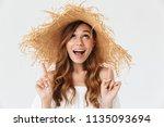 portrait closeup of young... | Shutterstock . vector #1135093694