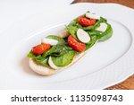 sandwich with mozzarella and... | Shutterstock . vector #1135098743