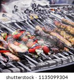 kebab meat chicken and... | Shutterstock . vector #1135099304