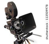 Vintage Movie Camera On White...