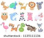 cute cartoon animals set. | Shutterstock .eps vector #1135111136