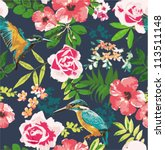 seamless flower pattern... | Shutterstock .eps vector #113511148
