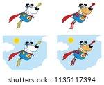 super hero dog cartoon mascot... | Shutterstock .eps vector #1135117394