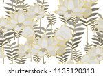 tumeric leaves and lotus... | Shutterstock .eps vector #1135120313
