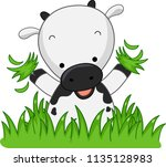 illustration of a cow holding... | Shutterstock .eps vector #1135128983