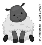 illustration of a cute sheep... | Shutterstock .eps vector #1135129094