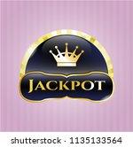 gold emblem with queen crown... | Shutterstock .eps vector #1135133564