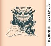 vintage king skull  monochrome... | Shutterstock .eps vector #1135134878