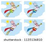 rabbit super hero cartoon... | Shutterstock .eps vector #1135136810
