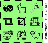 simple 9 icon set of farm... | Shutterstock .eps vector #1135138100