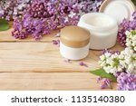 lilac flowers and cream... | Shutterstock . vector #1135140380