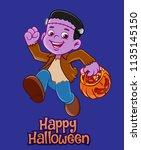 kid illustration for halloween   Shutterstock .eps vector #1135145150
