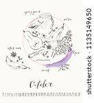 october 2018 calendar with ink... | Shutterstock .eps vector #1135149650