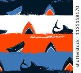 abstract seamless shark pattern ... | Shutterstock .eps vector #1135158170