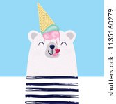funny bear with ice cream... | Shutterstock . vector #1135160279
