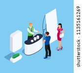 isometric stand with promoter... | Shutterstock .eps vector #1135161269