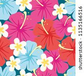 seamless pattern of hibiscus... | Shutterstock .eps vector #1135166516