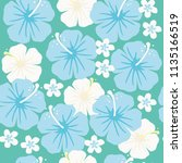 seamless pattern of hibiscus... | Shutterstock .eps vector #1135166519