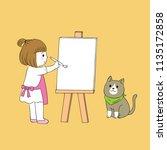 cartoon cute little girl...   Shutterstock .eps vector #1135172858