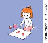 cartoon cute  little artist...   Shutterstock .eps vector #1135172864