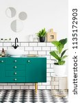 green cabinet next to plant on... | Shutterstock . vector #1135172903