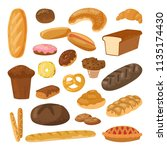 set of breads cartoon. whole... | Shutterstock .eps vector #1135174430