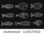 set of vector stylized fishes.... | Shutterstock .eps vector #1135174523
