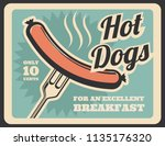 hotdogs food retro poster. just ... | Shutterstock .eps vector #1135176320