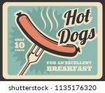 hotdogs food retro poster. just ... | Shutterstock .eps vector #1135176320
